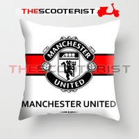 """Manchester United White Design - Pillow Cover 18"""" x 18"""" - One Side"""