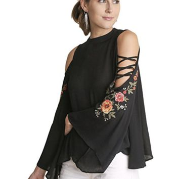 Umgee Women's Floral Embroidered Bell Sleeve Top with Crisscross Sleeve Cutouts