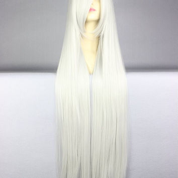 40 inches Harajuku Anime White Cosplay Wig Young Long Straight