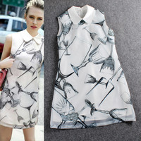 White Doll Collar Digital Glass Pattern Sleeveless Mini Dress
