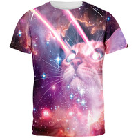 Galaxy Cat Laser Beams All Over Adult T-Shirt