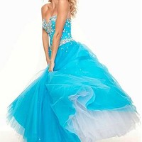 Buy discount Gorgeous Tulle & Satin Sweetheart Neckline Floor-length Ball Gown Evening Dress at Dressilyme.com