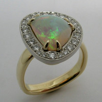Pure Crystal Australian Opal and Diamond Halo Hand Crafted Artisan Made Ring in 18k Gold & Platinum