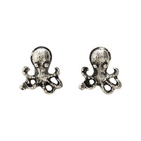 LOVEsick Burnished Silver Tone Octopus Earrings