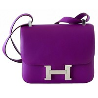 Hermes Constance Bag Rare 24 Anemone Purple Double Gusset Palladium Swift