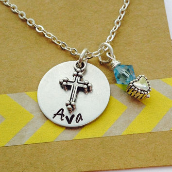 Cross Necklace, First Holy Communion, Cross Name Necklace, Hand Stamped  Necklace Confirmation Necklace Personalized Cross Necklace,