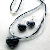 Puffed heart pendant necklace black & white lampwork glass with gold sparkles Mothers Day jewelry
