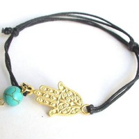 Turquoise stone gold plated brass hamza bracelet | moonfairy - Jewelry on ArtFire