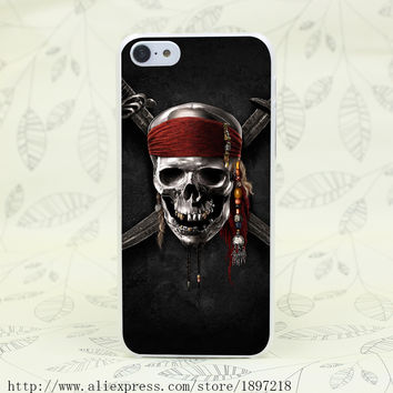 Skull Knife Symbol Red Band Hard Transparent Cover Case for iphone 4 4s 5 5s 5C SE 6 6s Clear Cell Phone Cases