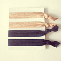 Elastic Hair Ties Nude and Black Set of 4 No Crease Hair Ties Ponytail Holder Elastic Band