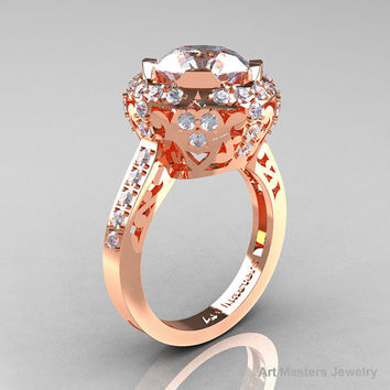 Modern Edwardian 14K Rose Gold 3.0 Carat White Sapphire Diamond Engagement Ring, Wedding Ring Y404-14KRGDWS