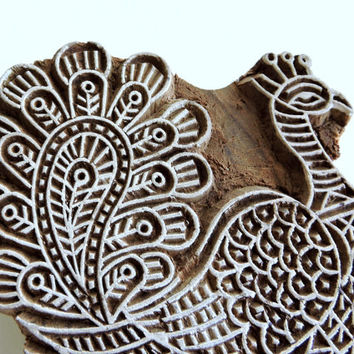 Peacock Stamp: Hand Carved Wood Bird Stamp,Textile Stamp, Large Indian Wooden Printing Block, Ceramic Tile Pottery Clay Stamp, India Decor