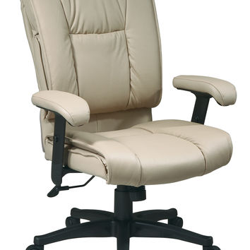 Office Star Deluxe Mid Back Executive Deluxe Coated Tan Leather Chair with Pillow Top Seat and Back [EX9381-1]