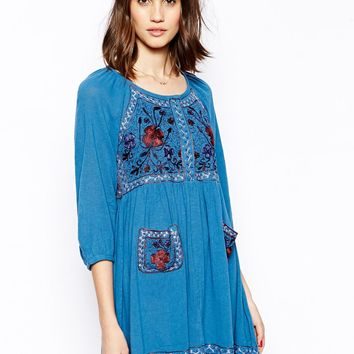French Connection Fez Garden 3/4 Sleeve Dress - Boat blue