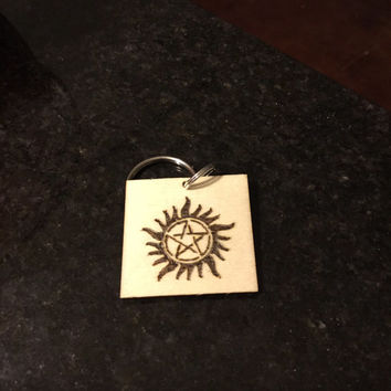 Supernatural Inspired AntiPossession Symbol Keychain - Wood Burned