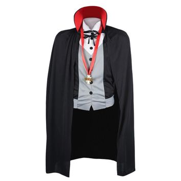 Men Vampire Costume Halloween Costumes Adult Male Fantasy Cosplay Fancy Dress Gothic Cloak Cape Stand Collar for Party Carnival