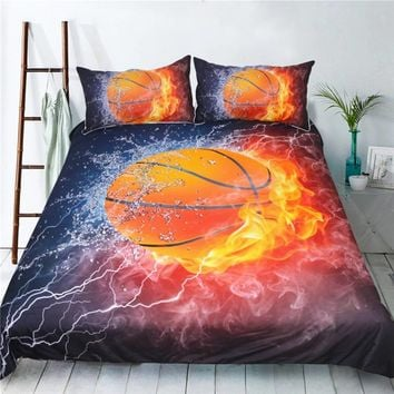 Ice&Fire Basketball Bedding Set With Black Background Duvet Cover Pillowcase Soft Comfortable Bed Set