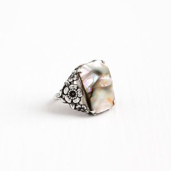 Vintage Sterling Silver Blister Pearl Ring - Art Deco 1930s Size 6 1/2 Colorful Statement Stone Flower Floral Filigree Jewelry