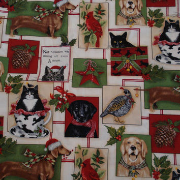 36 Inch Animal Lovers Christmas Tree Skirt, Dogs, Cats, Doxies, Labs, Cardinals, Red, Green