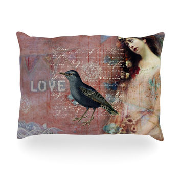 "Suzanne Carter ""Faith Hope Love"" Pink Typography Oblong Pillow"