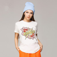 Personality Letter Explosion Pattern Print Loose Short Sleeve Women T-shirt Tops