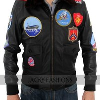 TOP GUN Tom Cruise  Pete Maverick's Genuine Black Leather Jacket + FREE GIFT
