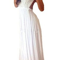 Womens Lace Strap Stitching Chiffon Backless Evening Long Dress