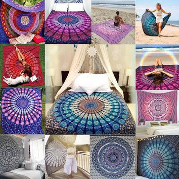 Hot Indian Mandala Tapestry Hippie Wall Hanging Boho Printed Bedspread Ethnic Beach Throw Towel Yoga Mat Home Decor 210*148cm