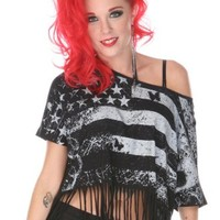 Jawbreaker Stars & Stripes Fringed Cropped Women's Top - Jawbreaker