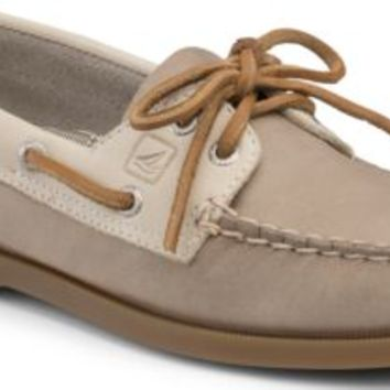 Sperry Top-Sider Authentic Original Two-Tone 2-Eye Boat Shoe Gray/Oat, Size 8M  Women's Shoes