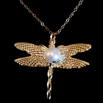 Gorgeous 14K Gold Filled Dragonfly Necklace with optional Freshwater Pearl by Tickle Bug Jewelry!