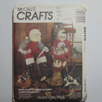 McCall's Craft Sewing Pattern 5019 Santa Mrs. Claus Elf Doll and Clothes
