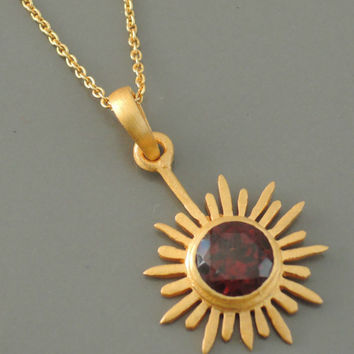 Garnet Necklace - Gold Necklace - Gemstone Necklace - January Birthstone Necklace - Sun Necklace - handmade jewelry