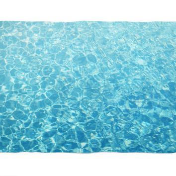 Crystal Oceans - Fleece Blanket, Tropical Blue Water Style Accent, Beach Surf Boho Chic Coral Fleece Throw Cover. In 30x40 50x60 60x80 Inch