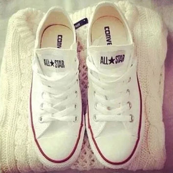 "Womens  White ""Converse"" Fashion Canvas Flats Sneakers Sport Shoes"