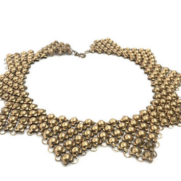 Art Deco Mesh Gold Tone Necklace, Raised Gold Tone Domes, Geometric Design, Dimension & Texture, Vintage Statement Necklace, 1930s - 1940s