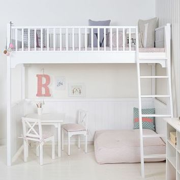 White Scandinavian Loft Bed