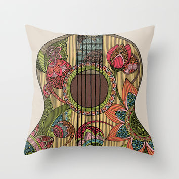 The Guitar  Throw Pillow by Valentina Harper