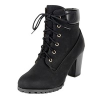 Womens Ankle Boots Rugged Lace Up High Heel Shoes Black SZ 8H