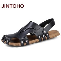 High Quality Men Leather Sandals Summer Beach Shoes Casual Men Sandals Beach Male Sandal Fashion Slides