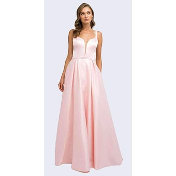 Floor Length Blush Prom Dress A-Line Cut-Out Bow Back