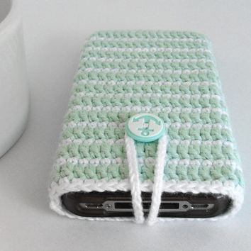 Mint Nautical iPhone anchor case, Navy iTouch Cover, iPod case, crochet cozy case, nautical case, summer iphone sleeve, Navy iPhone cozy