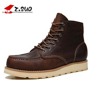 Men Winter Boots Brown Breathable Cow Leather Ankle Boots Male Winter Lace-up Leisure Man Boots Black Winter Shoes