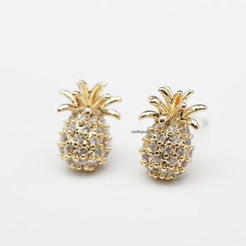 Pineapple stud Earrings detailed with cubic in 2 colors, E0821S
