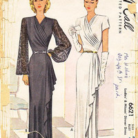 Vintage 40s Dress Pattern - McCall 6621 - Misses' Dinner or Evening Dress - Sz 42/Bust 42""