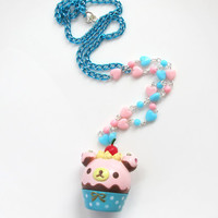 Kawaii Fairykei Lolita Style Sweet Bear cupcake with cherry and whip cream toppings, Pink and Blue hearts Kawaii Cute Necklace