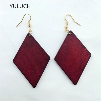 good quality african Unfinished  rhombus  design  RED wood earrings jewelry pair 2016  new design  personality hollow latest