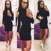 Elegant Womens Sexy High Neck Bodycon Slim Fall Winter Party Cocktail Mini Dress