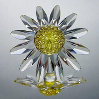 Swarovski Yellow Marguerite Crystal Daisy Flower Cake Topper #8609 Limited