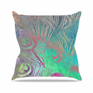 "Alison Coxon "" Indian Summer"" Purple Teal Abstract Outdoor Throw Pillow"
